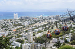 Haifa, Israel May 14, 2013: View from Mount Carmel on the Haifa and Haifa Bay. On May 14, 2013, Haifa, Israel Stock Images