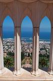 Haifa, Israel, Middle East, skyline, Mediterranean Sea, gardens, Bahai, arch, columns Royalty Free Stock Image