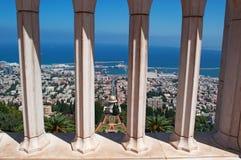 Haifa, Israel, Middle East, skyline, Mediterranean Sea, gardens, Bahai, arch, columns Royalty Free Stock Images