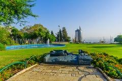 HaZikaron memorial Garden, in Haifa. HAIFA, ISRAEL - OCTOBER 27, 2017: View of HaZikaron memorial Garden, with visitors, in Haifa, Israel royalty free stock photo