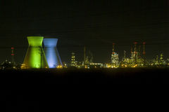 Haifa Israel oil Refinery. Israeli oil Refinery in Haifa by night illuminated in green and blue Royalty Free Stock Photography