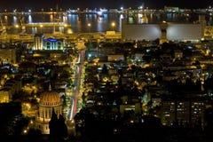 Haifa at night. Haifa harbor and the Baha'i temple at night stock photography