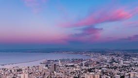 Haifa Panorama Day al lapso de la noche metrajes