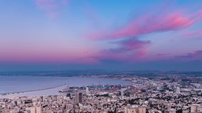 Haifa Panorama Day to Night Time Lapse stock footage