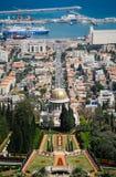 Haifa - Panorama met de Tempel en de Haven Stock Foto's