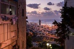 Haifa pejzaż miejski przy zmierzchem Obraz Royalty Free