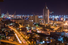 Haifa pejzaż miejski przy zmierzchem Zdjęcia Stock
