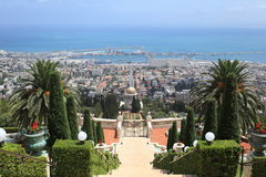Haifa Port & Bahai Gardens, Mount Carmel Stock Photography