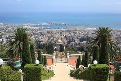 Haifa port & Bahai ogródy, góra Carmel Fotografia Stock