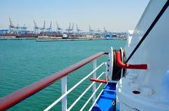 Haifa sea port. View of tugboat at Haifa port, Israel Stock Images