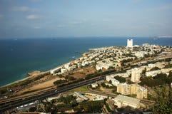 Haifa seacoast. Panoramic view of Haifa city Stock Image