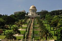 Haifa skönheten av de Baha'i trädgårdarna. Arkivfoton