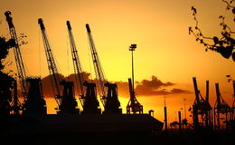 haifa Sonnenaufgang im Hafen Stockfotos