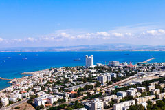 Haifa view of the city from a bird's flight Stock Photography