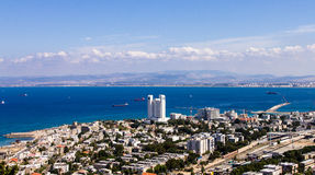 Haifa view of the city from a bird's flight.  Stock Image