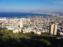 Haifa view from Mount Carmel. View of Haifa, with the harbor and its port from Mount Carmel on a clear day Royalty Free Stock Images