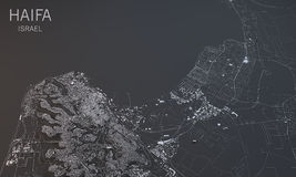 Haifa, visión por satélite, sección 3d, Israel Imagen de archivo libre de regalías