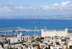 Haifa and waters of the port , Israel, Mediterrane Stock Images