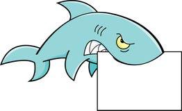 Haifisch, der ein Zeichen hält Lizenzfreie Stockbilder