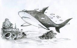 Haifisch und Fische vektor abbildung