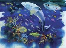 Haifischaquarell-Malereiillustration Lizenzfreies Stockfoto