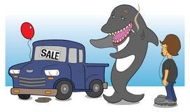 Haifischautoverkäufer Stockfotografie