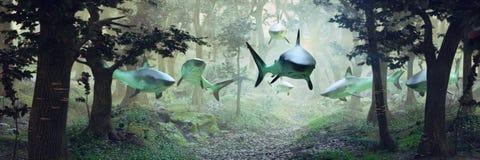 Haifische, die im Wald, surrealistische Szene mit einer Gruppe Haifischen fliegen in nebelige Fantasielandschaft, surreales Ba de vektor abbildung