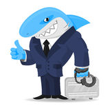Haifischgeschäft hält Koffer in den Handschellen Stockbild