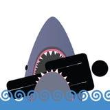 Haifischikonenfarbvektorillustration Stockbilder