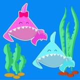 Haifischjunge des blauen Babys und rosa Babyhaifischmädchen Karikaturfischcharakter lokalisiert auf hellem Hintergrund Stiker für lizenzfreie abbildung