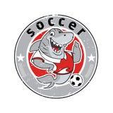 Haifischmaskottchenteam-Logofußball Lizenzfreie Stockfotos