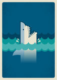 Haifischplakat Vektorhintergrundillustration für Text Stockfotos