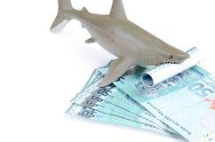 Haifischspielzeug und -geld Lizenzfreie Stockbilder