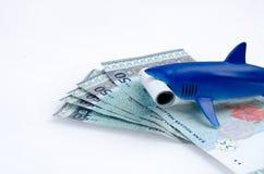 Haifischspielzeug und -geld Stockfotografie