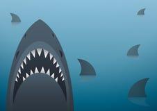 Haifischvektorillustration und Raumhintergrund Stockfotografie