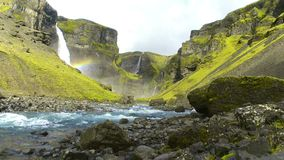 Haifoss瀑布在冰岛 股票视频