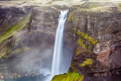 Haifoss waterfall in Iceland Royalty Free Stock Photos