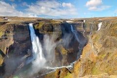 Haifoss y Grannifoss en Islandia fotos de archivo