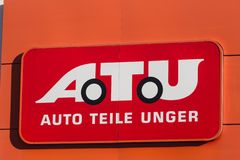 Haiger, hesse/Germania - 17 11 18: segno del atu su una costruzione nel haiger Germania immagine stock libera da diritti
