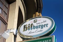 Haiger, hesse/germany - 17 11 18: bitburger sign in haiger germany. Haiger, hesse/germany - 17 11 18: an bitburger sign in haiger germany royalty free stock photo