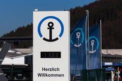 Haiger, hesse/germany - 17 11 18: kühne und nagel sign in haiger germany. Haiger, hesse/germany - 17 11 18: a kühne und nagel sign in haiger germany stock photo
