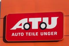 Haiger, Hessen/Deutschland - 17 11 18: atu-Zeichen auf einem Gebäude im haiger Deutschland lizenzfreies stockbild