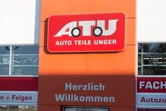 Haiger, Hessen/Deutschland - 17 11 18: atu-Zeichen auf einem Gebäude im haiger Deutschland stockfotografie