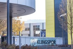 Haiger, Hessen/Deutschland - 17 11 18: klingspor Fabrik im haiger Deutschland lizenzfreies stockbild