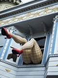 Haight-Ashbury, comic female legs with tights and red heels through window in a blue house - San Francisco, California, CA Stock Photos