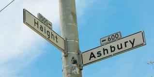 Haight - Ashbury-straatteken in San Francisco Royalty-vrije Stock Foto's