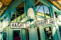 Haight Ashbury street sign junction corner in San Francisco, California, USA stock image