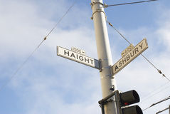 Haight Street Sign in San Francisco. A Hippie Hangout Stock Photography