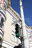 Haight Street Sign & Victorian. Haight Street Sign & Victorian Home. A Hippie Hangout Stock Photo