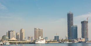 Haihe海,在天津附近的Haibin区都市风景b 免版税库存图片